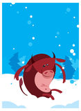 The Red Ox Bull whith winter background Royalty Free Stock Photography