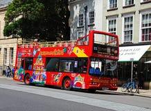 Red Oxford tour bus. Stock Photo