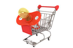Red pacifier in shopping cart Royalty Free Stock Photo