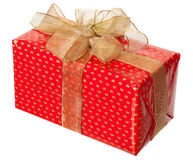Red package with gold bow Stock Photography