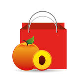 Red package juicy peach fruit Royalty Free Stock Images