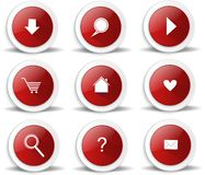 Red package of web glossy buttons, icons Stock Photos