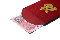Red Packet. Chinese New year red packet with Hong Kong's dollars,  isolated on white Stock Photo