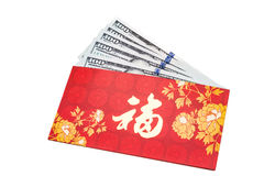 Red packet with Good Fortune Chinese character contains US Dolla Stock Photos