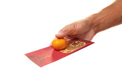 Red Packet With Mandarin Orange Stock Photography