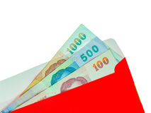 Red packet and Money Thai Banknote isolated for chinese new year. On white background royalty free stock photos