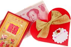 Red packets and candy packaging. Close-up of Chinese-style wedding candy  packaging and red packets on white Stock Photography