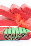 Red packets with green firecrackers Stock Image