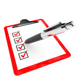 Red pad holder with check boxes and pen. Stock Photography