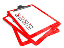 Red Pad Holders With Check Boxes. Royalty Free Stock Photos