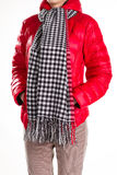 Red padded jacket and scarf. Stock Images