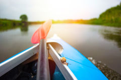 Red paddle and little snail are on kayak at summer day Royalty Free Stock Photography