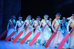 Red paddle.-The third act of dance drama-Shawan events of the past Stock Photos