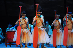 Red paddle.-The third act of dance drama-Shawan events of the past Royalty Free Stock Photography