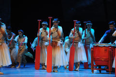Red paddle.-The third act of dance drama-Shawan events of the past Stock Images