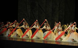 Red paddle.-The third act of dance drama-Shawan events of the past Royalty Free Stock Photo
