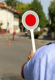 Red paddle traffic Stock Photography