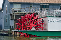 Red paddle wheel river boat Royalty Free Stock Images