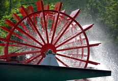 Red paddle wheel on river boat Royalty Free Stock Image