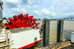 Red paddle wheeler on the Mississippi River Royalty Free Stock Image