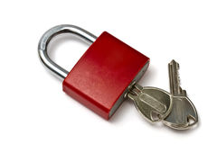 Red padlock. And keys isolated on white background Royalty Free Stock Photo