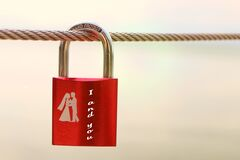 Red Padlock Stock Image
