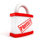 Red padlock closeup concept protect text symbol Stock Photography