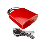 Red padlock locked with a set of keys on white Royalty Free Stock Photography