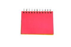 Red page of notebook. Blank Yellow page of notebook isolated on white background Stock Images