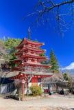 Red pagoda, Chureito is landmark near Fuji mountain stock photo