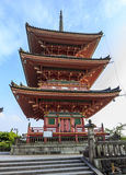 Red pagoda in the famous Kiyo-mizu dera temple in Kyoto, Japan Royalty Free Stock Photography