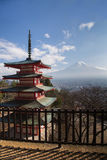Red pagoda with Fuji volcano mountain. And blue sky background, Japan royalty free stock image