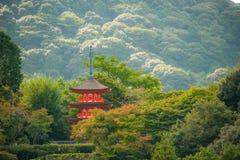 RED PAGODA IN KIYOMIZU-DERA TEMPLE. Royalty Free Stock Photo