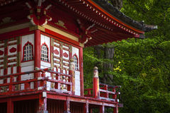 Red pagoda in Japanese garden Royalty Free Stock Photography
