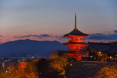 Pagoda of Kiyomizu Temple during sunset, Kyoto, Japan Royalty Free Stock Images