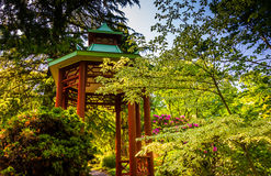 A red pagoda at the National Arboretum in Washington, DC. Royalty Free Stock Photography