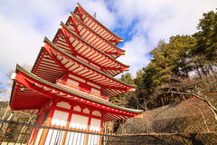 Red pagoda in shrine Royalty Free Stock Image