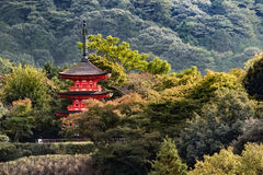 Red pagoda in a temple of Kyoto with green wood around Stock Photos