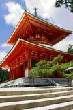 Red Pagoda Temple on Mount Kōya Stock Image