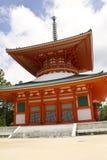 Red Pagoda Temple on Mount Kōya Royalty Free Stock Image