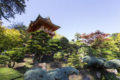 Red pagoda and trees in a japanese garden Stock Image