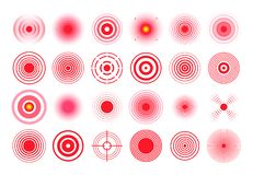 Red pain circle. Painful target mark, pain area circles and sore throat therapy remedy isolated vector set stock illustration