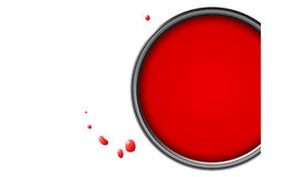 Red paint. In can with drops and copy space for text Stock Photos
