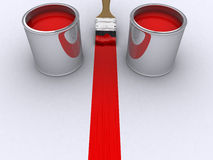 Red paint. A brush painting a red line and two cans with red paint - 3d render Royalty Free Stock Photos