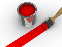 Red paint. A brush painting a red line and a paint can - 3d render Stock Photo
