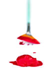 Red paint with brush. Red paint isolated on white with paint dipped brush in background with light shadow. Extreme shallow DOF stock images