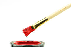 Red Paint Brush and Can Royalty Free Stock Photo