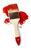 Red paint with brush Royalty Free Stock Image