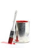 Red paint. Bucket with red color paint and brush isolated on white background stock photos