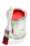 Red paint. Bucket with red color paint and brush isolated on white background royalty free stock photo